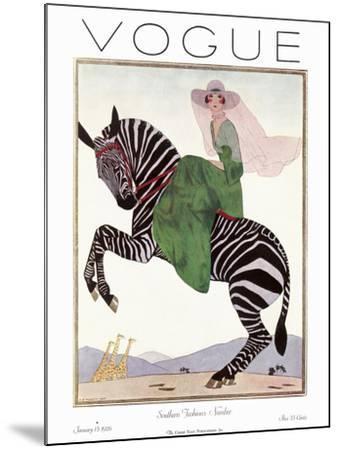 Vogue Cover - January 1926 - Zebra Safari--Mounted Premium Giclee Print