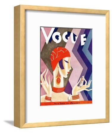 Vogue Cover - July 1926 - Fashion Zig Zag-Eduardo Garcia Benito-Framed Premium Giclee Print