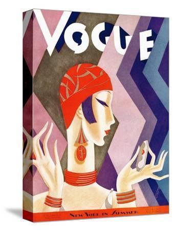Vogue Cover - July 1926 - Fashion Zig Zag-Eduardo Garcia Benito-Stretched Canvas Print