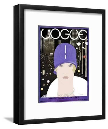 Vogue Cover - March 1927-Georges Lepape-Framed Premium Giclee Print