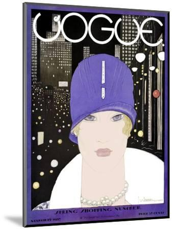 Vogue Cover - March 1927-Georges Lepape-Mounted Premium Giclee Print