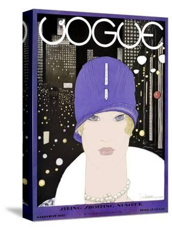 Vogue Cover - March 1927-Georges Lepape-Stretched Canvas Print