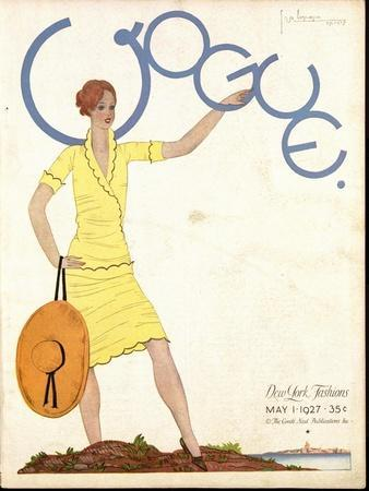 Vogue Cover - May 1927-Georges Lepape-Framed Premium Giclee Print