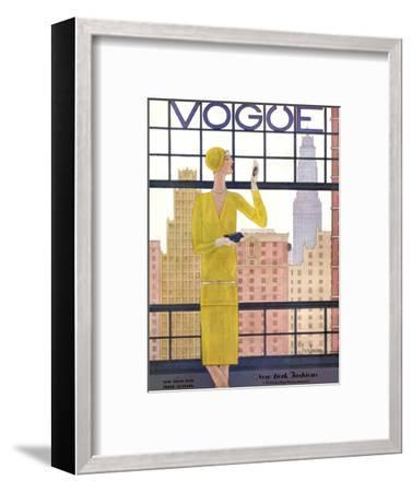 Vogue Cover - May 1928 - City View-Georges Lepape-Framed Premium Giclee Print