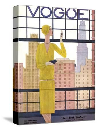 Vogue Cover - May 1928 - City View-Georges Lepape-Stretched Canvas Print