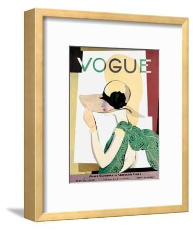 Vogue Cover - May 1928 - Smart Fashion-Pierre Mourgue-Framed Premium Giclee Print