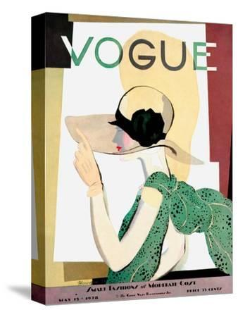 Vogue Cover - May 1928 - Smart Fashion-Pierre Mourgue-Stretched Canvas Print