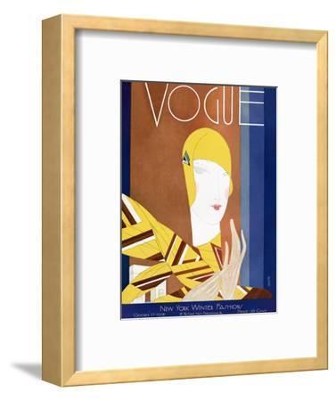 Vogue Cover - October 1928-Eduardo Garcia Benito-Framed Premium Giclee Print