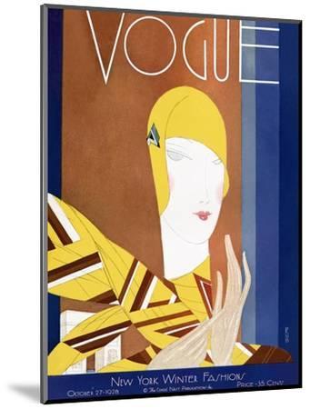 Vogue Cover - October 1928-Eduardo Garcia Benito-Mounted Premium Giclee Print