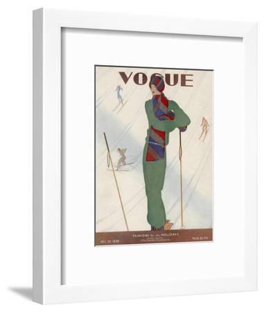 Vogue Cover - December 1928-Jean Pag?s-Framed Premium Giclee Print