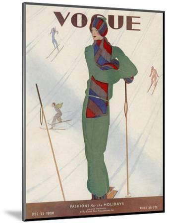 Vogue Cover - December 1928-Jean Pag?s-Mounted Premium Giclee Print