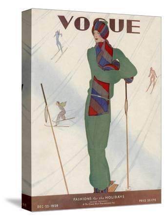 Vogue Cover - December 1928-Jean Pag?s-Stretched Canvas Print