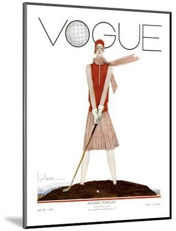 Vogue Cover - July 1929 - Tee Time-Georges Lepape-Mounted Premium Giclee Print