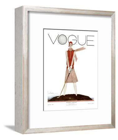 Vogue Cover - July 1929 - Tee Time-Georges Lepape-Framed Premium Giclee Print
