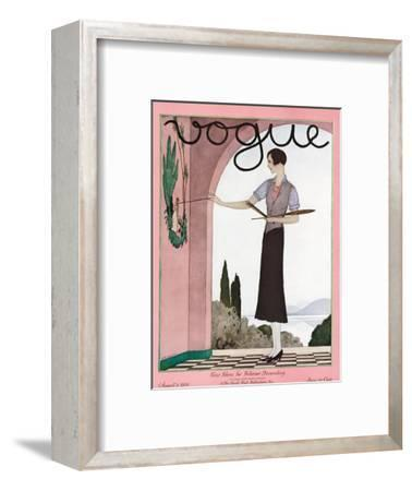 Vogue Cover - August 1929-Andr? E. Marty-Framed Premium Giclee Print