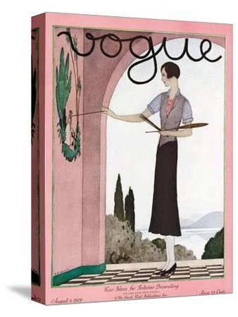 Vogue Cover - August 1929-Andr? E. Marty-Stretched Canvas Print