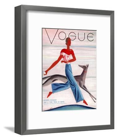 Vogue Cover - July 1930-Eduardo Garcia Benito-Framed Premium Giclee Print