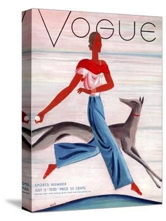 Vogue Cover - July 1930-Eduardo Garcia Benito-Stretched Canvas Print