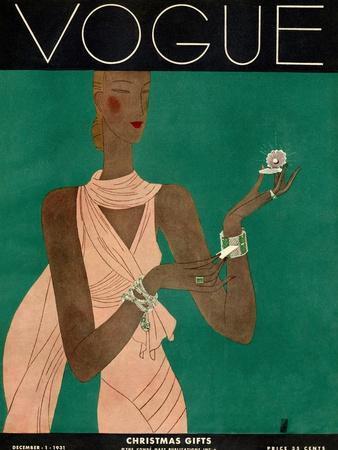 Vogue Cover - December 1931-Eduardo Garcia Benito-Stretched Canvas Print