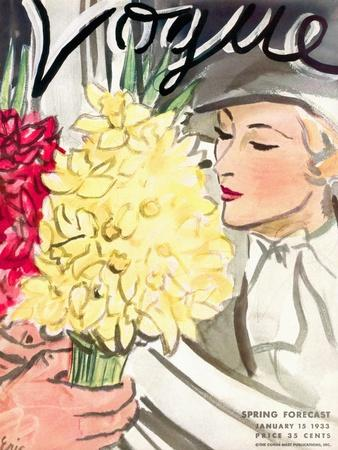 "Vogue Cover - January 1933-Carl ""Eric"" Erickson-Framed Premium Giclee Print"