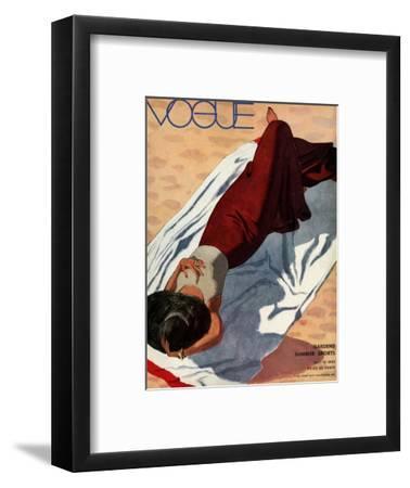 Vogue Cover - July 1933 - Beach Siesta-Pierre Mourgue-Framed Premium Giclee Print