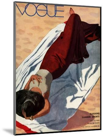 Vogue Cover - July 1933 - Beach Siesta-Pierre Mourgue-Mounted Premium Giclee Print