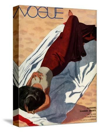 Vogue Cover - July 1933 - Beach Siesta-Pierre Mourgue-Stretched Canvas Print