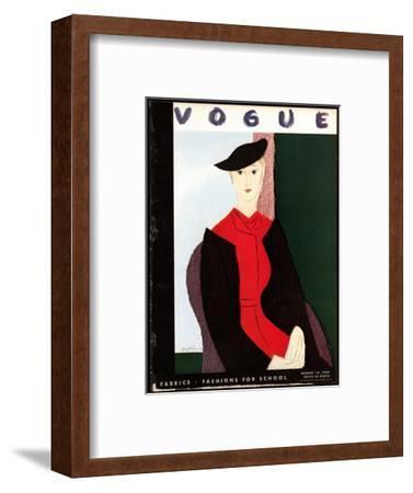 Vogue Cover - August 1934-R.S. Grafstrom-Framed Premium Giclee Print