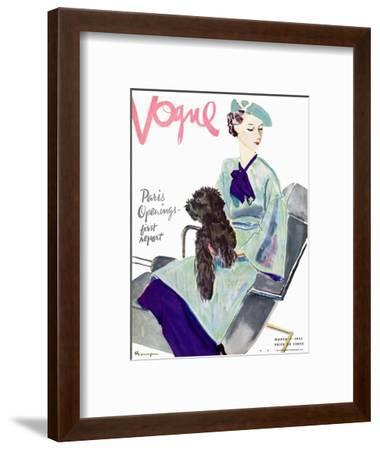 Vogue Cover - March 1935-Pierre Mourgue-Framed Premium Giclee Print