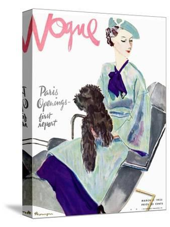 Vogue Cover - March 1935-Pierre Mourgue-Stretched Canvas Print
