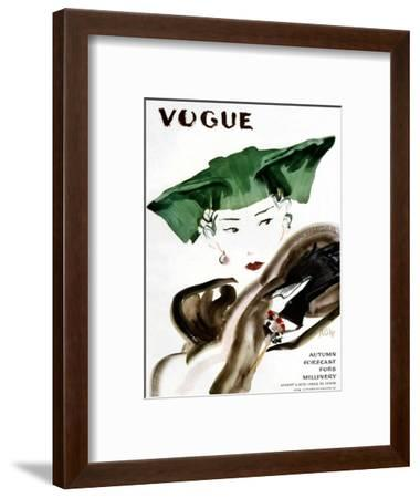 Vogue Cover - August 1935-Ren? Bou?t-Willaumez-Framed Premium Giclee Print