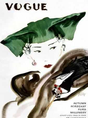 Vogue Cover - August 1935-Ren? Bou?t-Willaumez-Stretched Canvas Print