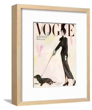Vogue Cover - March 1917 - Dachshund Stroll-Ren? R. Bouch?-Framed Premium Giclee Print