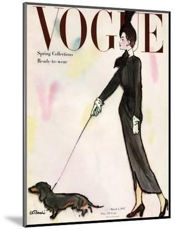 Vogue Cover - March 1917 - Dachshund Stroll-Ren? R. Bouch?-Mounted Premium Giclee Print