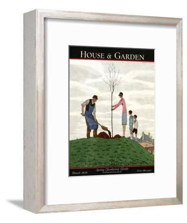 House & Garden Cover - March 1929-Andr? E. Marty-Framed Premium Giclee Print