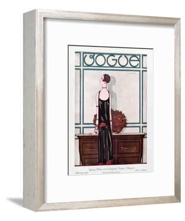 Vogue Cover - February 1925-Georges Lepape-Framed Premium Giclee Print