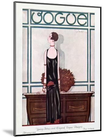 Vogue Cover - February 1925-Georges Lepape-Mounted Premium Giclee Print