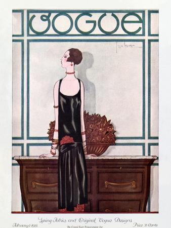 Vogue Cover - February 1925-Georges Lepape-Stretched Canvas Print