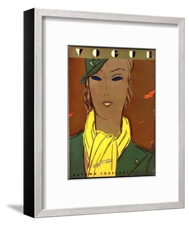 Vogue Cover - August 1933-Eduardo Garcia Benito-Framed Premium Giclee Print