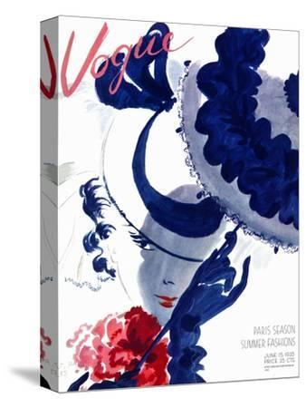 Vogue Cover - June 1935 - Paris Parasol-Jean Pag?s-Stretched Canvas Print