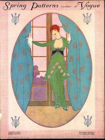 Vogue Cover - March 1913-Helen Dryden-Stretched Canvas Print