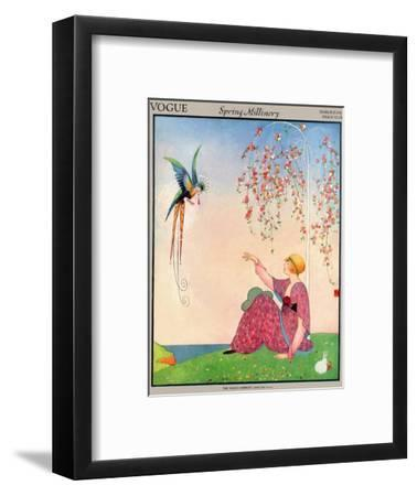 Vogue Cover - March 1914-George Wolfe Plank-Framed Premium Giclee Print