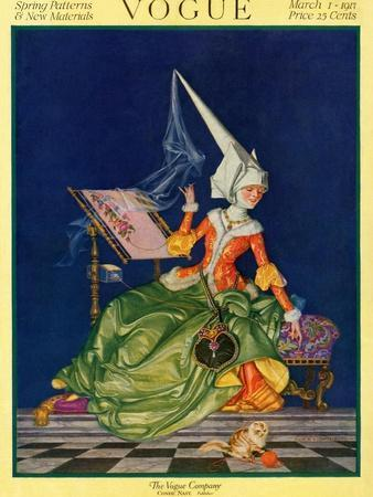 Vogue Cover - March 1917-Frank X. Leyendecker-Stretched Canvas Print