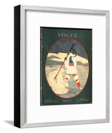 Vogue Cover - August 1917-Georges Lepape-Framed Premium Giclee Print