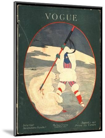 Vogue Cover - August 1917-Georges Lepape-Mounted Premium Giclee Print