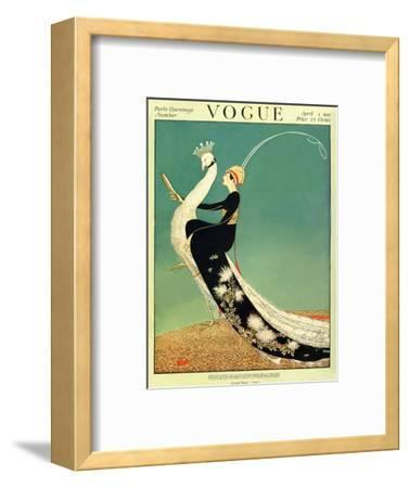 Vogue Cover - April 1918 - Peacock Parade-George Wolfe Plank-Framed Premium Giclee Print