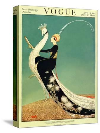 Vogue Cover - April 1918 - Peacock Parade-George Wolfe Plank-Stretched Canvas Print