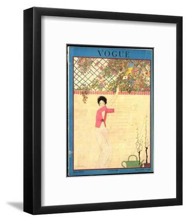 Vogue Cover - July 1918-Georges Lepape-Framed Premium Giclee Print