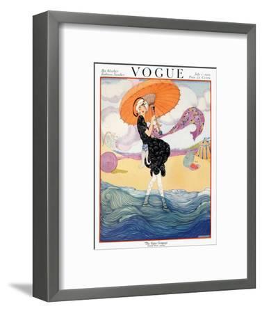 Vogue Cover - July 1919 - Seaside Stroll-Helen Dryden-Framed Premium Giclee Print