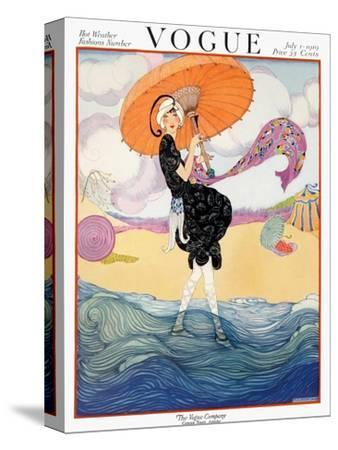 Vogue Cover - July 1919 - Seaside Stroll-Helen Dryden-Stretched Canvas Print